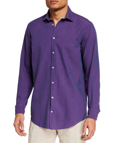 Massimo Alba Men's Iridescent Cotton Sport Shirt