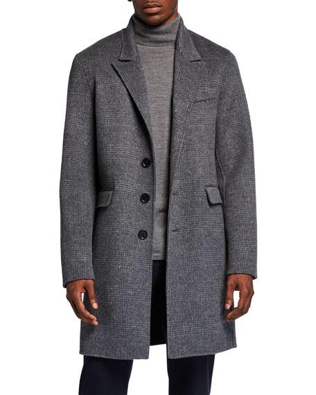 Vince Men's Plaid Knee-Length Car Coat