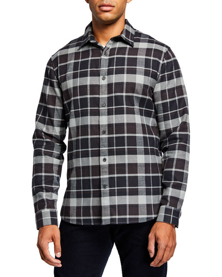 Vince Men's Brushed Multi-Plaid Sport Shirt
