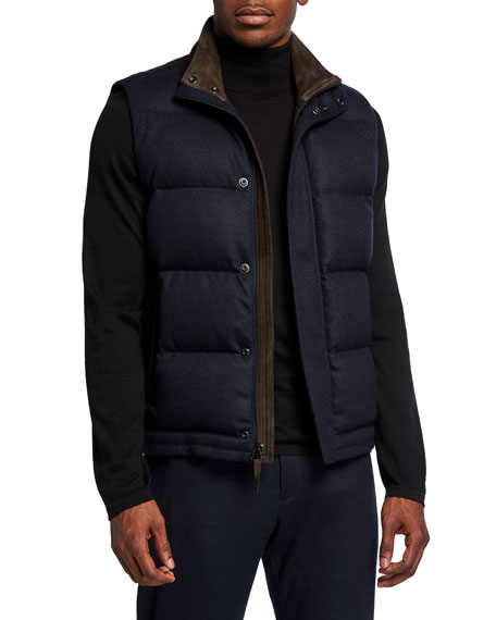 Vince Men's Quilted Puffer Vest w/ Suede Trim