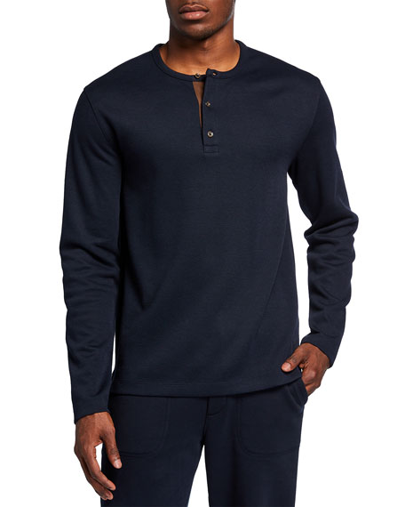 Vince Men's Henley Shirt with Elbow Patches