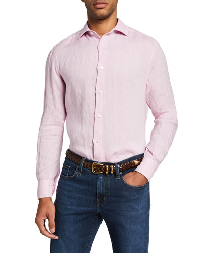 Men's Solid Long-Sleeve Linen Sport Shirt