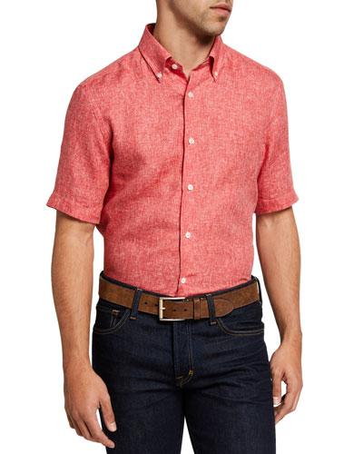 Men's Solid Yarn-Dyed Linen Short-Sleeve Sport Shirt