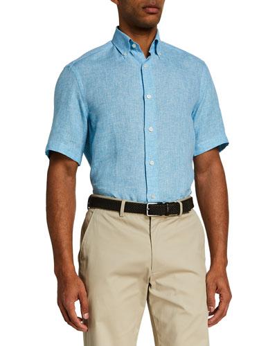 Men's Button Down Collar Linen Sport Shirt