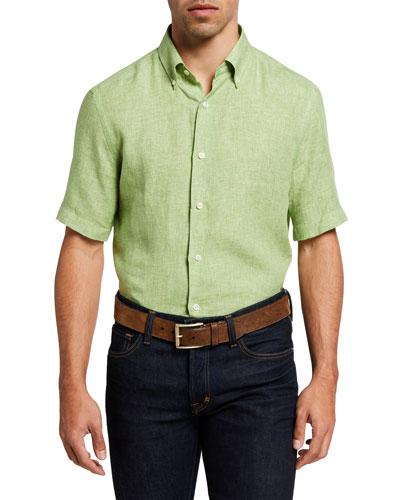 Men's Solid Short-Sleeve Yarn-Dyed Sport Shirt
