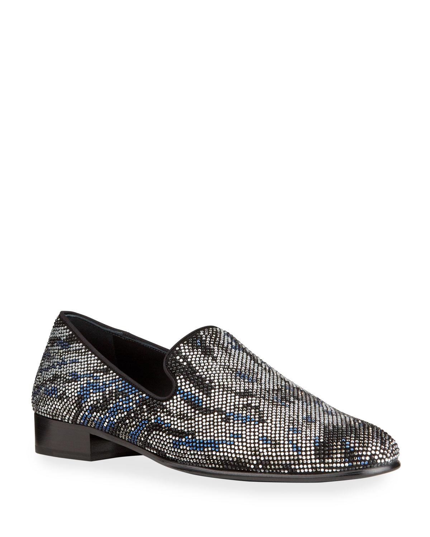 Men's Swarovski Embellished Suede Loafers