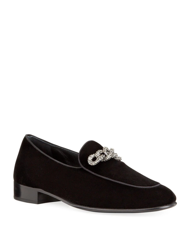 Men's Swarovski Chain Velvet Loafers