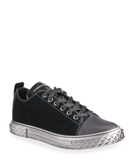 Giuseppe Zanotti Men's Blabber Velvet Sneakers w/ Metallic Sole