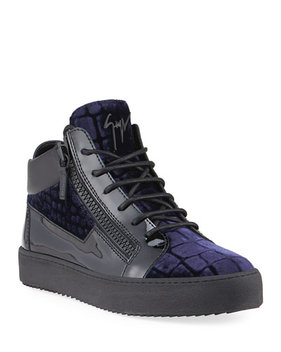 Men's Meredith Croc-Print Velvet Mid-Top Sneakers