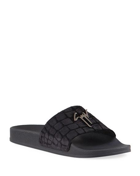 Giuseppe Zanotti Men's Meredith Croc-Print Velvet Slide Sandals