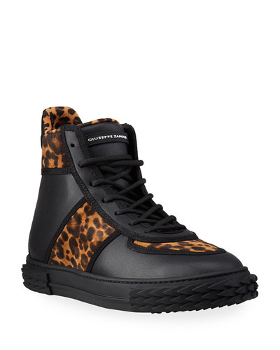 Men's Blabber Leopard-Print Silk/Leather High-Top Sneakers