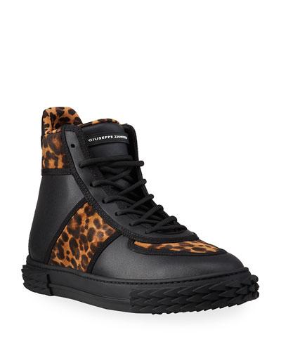 Men's Blabber Leopard-Print Silk/Leather High-Top Sneakers