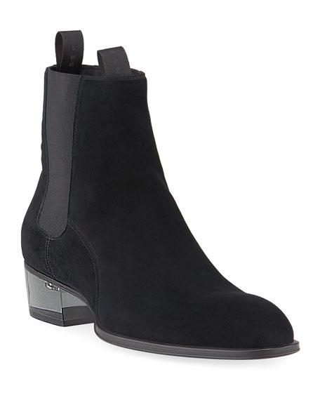 Giuseppe Zanotti Men's Suede Chelsea Boots w/ Clear Heel