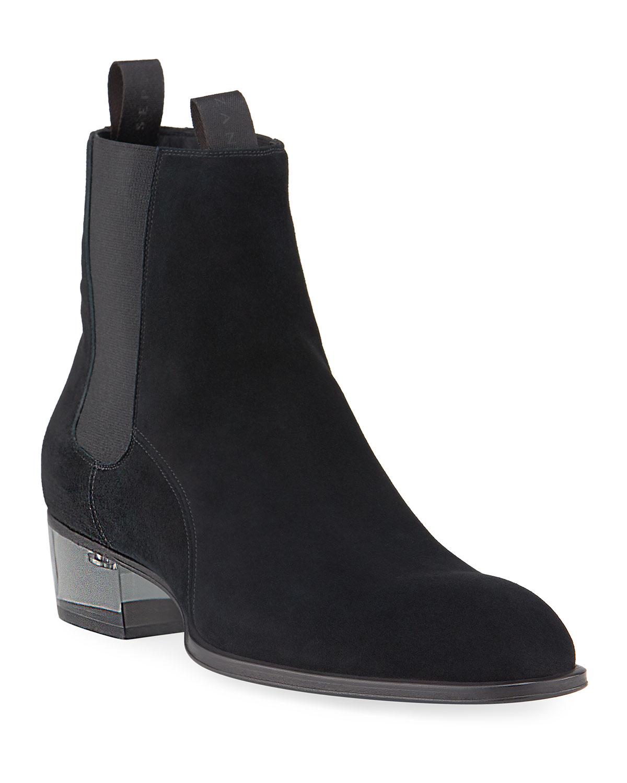 Men's Suede Chelsea Boots w/ Clear Heel