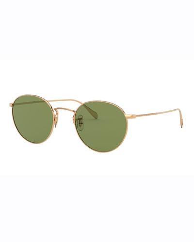 Men's Coleridge Round Metal Aviator Sunglasses