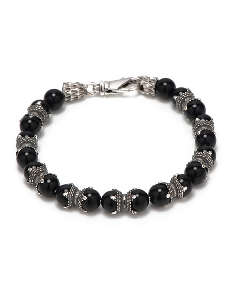 Emanuele Bicocchi Men's Black Onyx Bead Bracelet