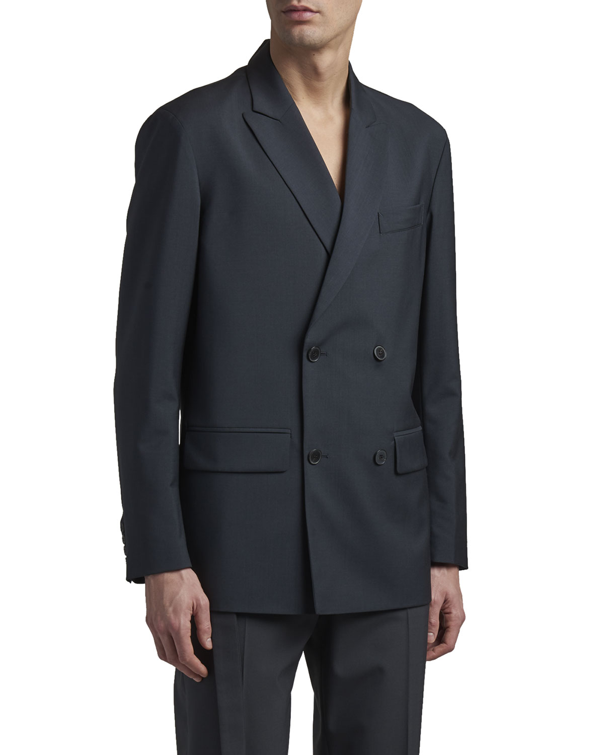 Valentino MEN'S SOLID DOUBLE-BREASTED SPORT JACKET