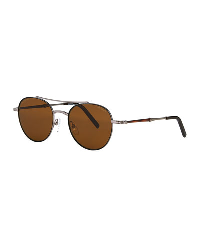 Men's Polarized Round Metal Double-Bridge Sunglasses