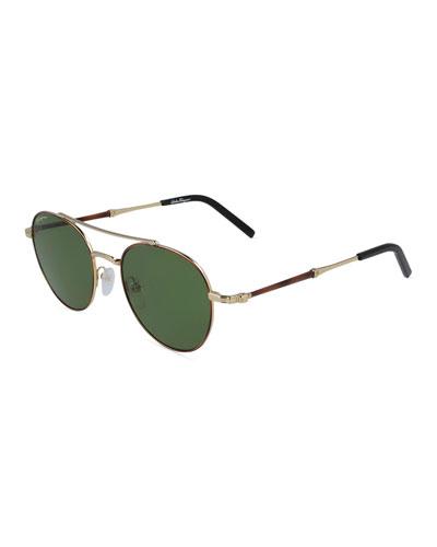 Men's Round Metal Double-Bridge Sunglasses