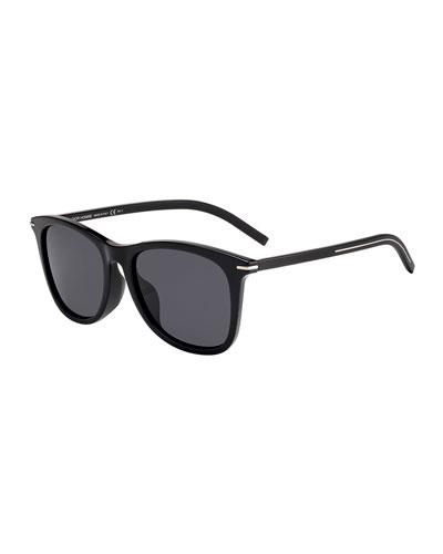 Men's Blacktie Rectangle Acetate Sunglasses w/ Metal Detail