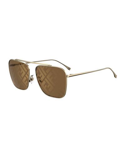 Men's Mirrored FF-Monogram Square Metal Sunglasses