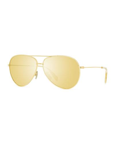 Men's Endura Shiny Metal Aviator Sunglasses