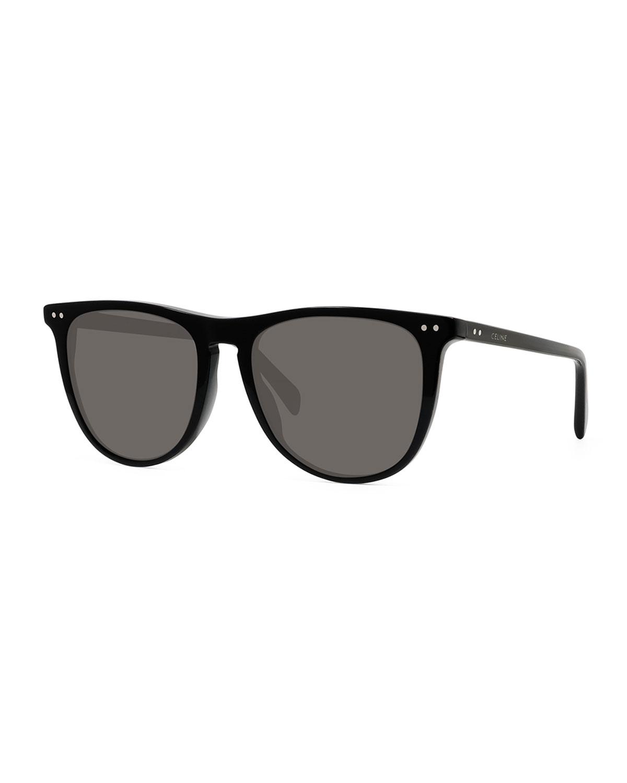 Men's Round Solid Acetate Sunglasses