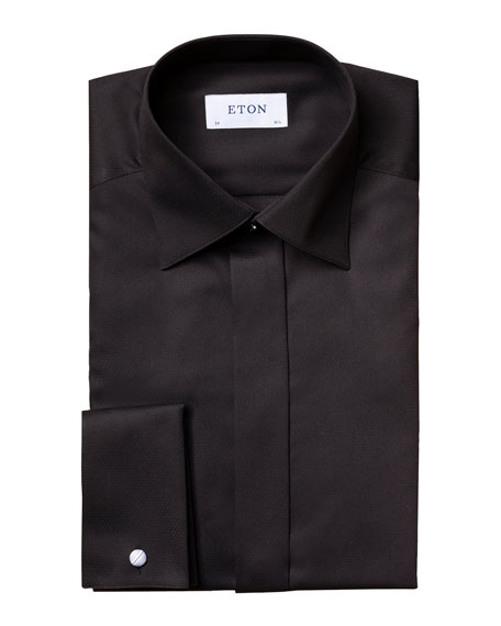 Eton Men's Contemporary-Fit Satin Dobby Formal Dress Shirt
