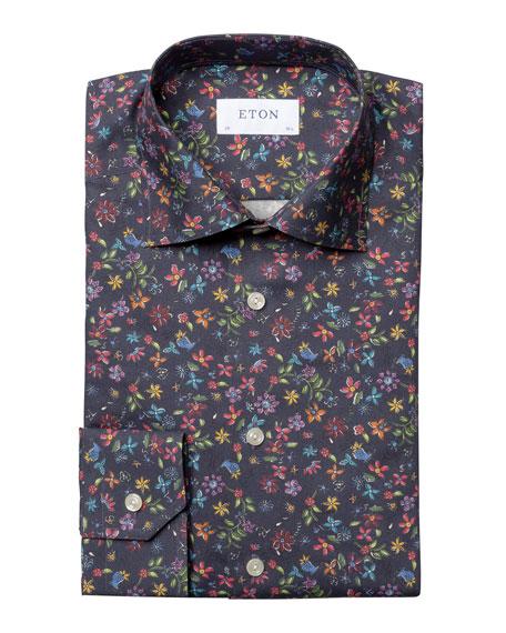 Eton Men's Slim-Fit Floral-Print Twill Dress Shirt