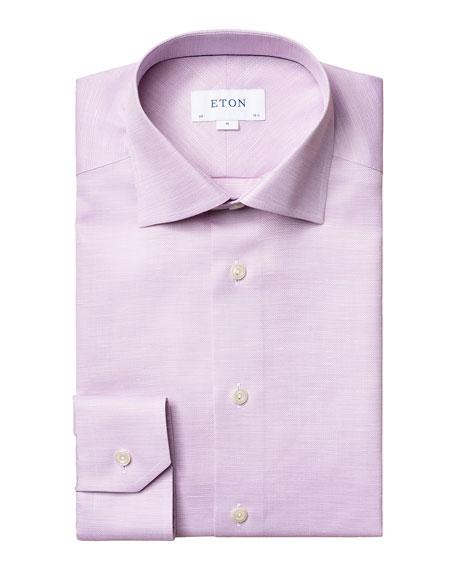 Eton Men's Slim-Fit Textured Cotton-Linen Dress Shirt