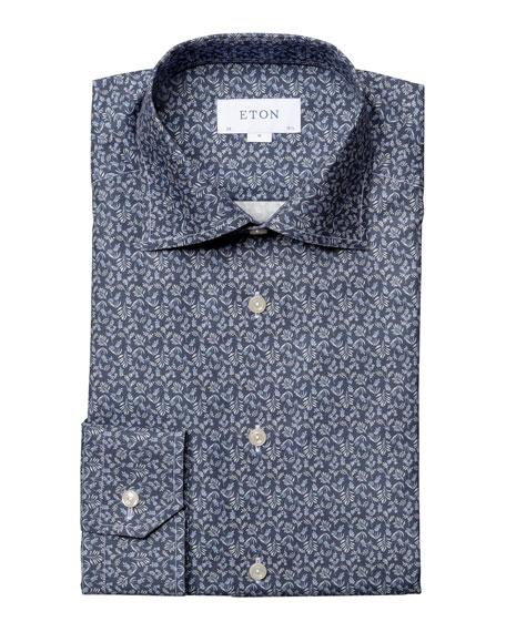 Eton Men's Contemporary-Fit Lightweight Leaf-Print Dress Shirt