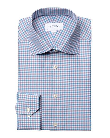 Eton Men's Slim-Fit Plaid Cotton/Linen Dress Shirt