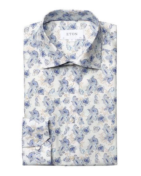 Eton Men's Contemporary-Fit Lightweight Twill Paisley Dress Shirt