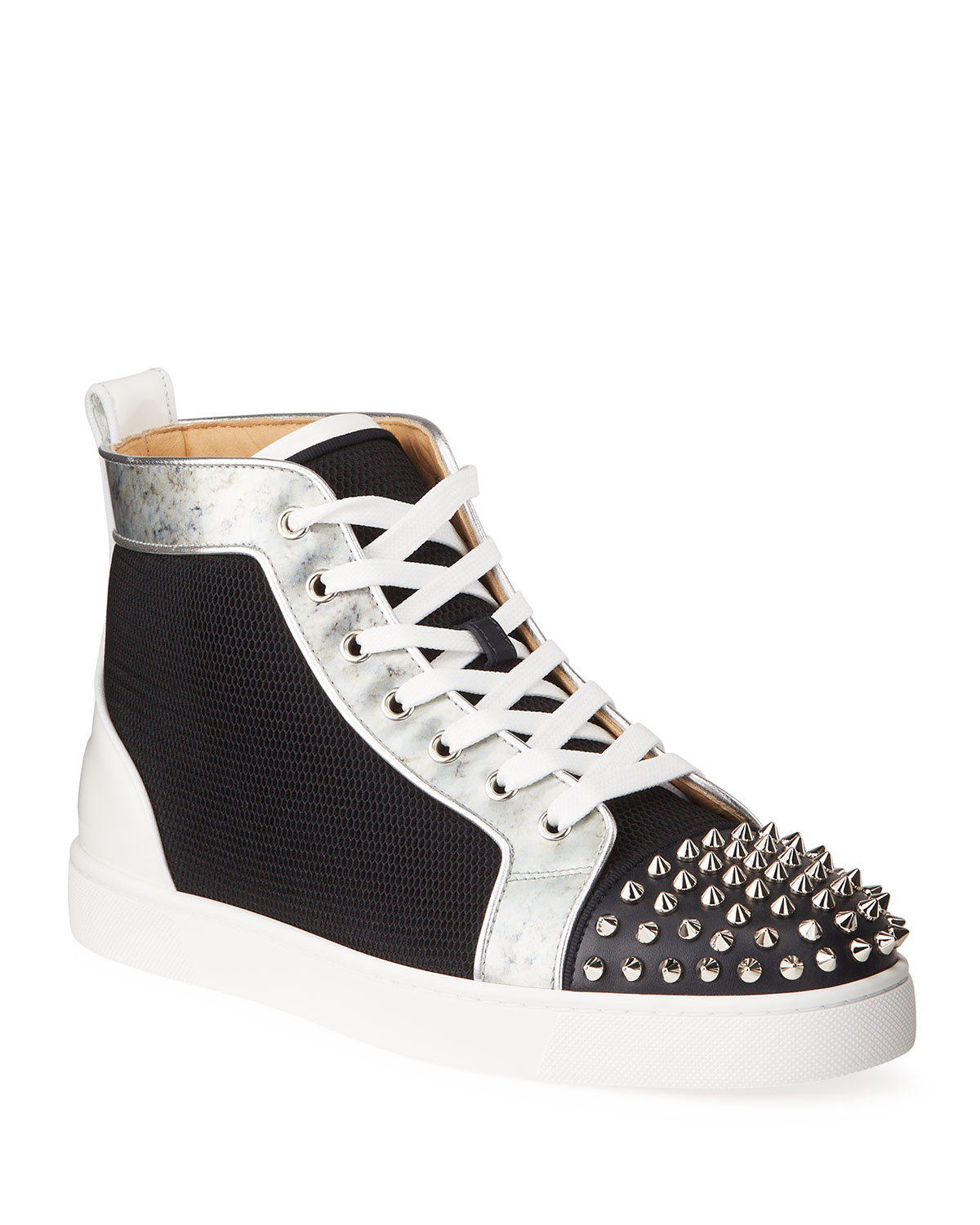 Christian Louboutin MEN'S LOU SPIKES ORLATO MESH/LEATHER HIGH-TOP SNEAKERS