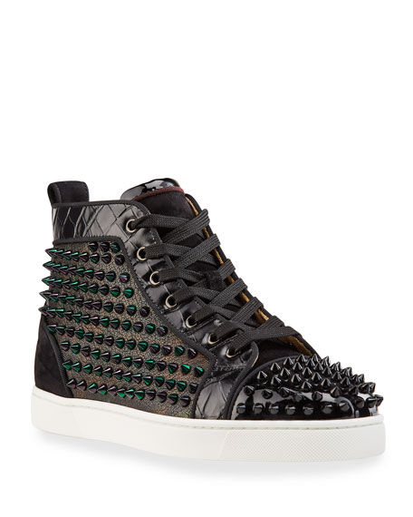 Christian Louboutin Men's Louis Orlato Mix-Media Sneakers w/ Metallic Spikes