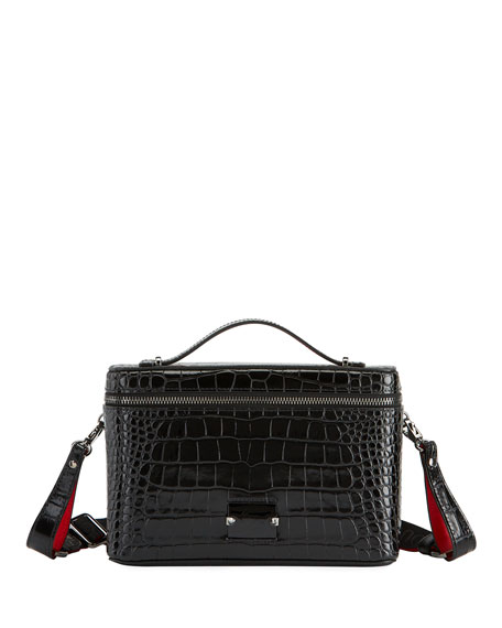 Christian Louboutin Men's Kypipouch Croc-Embossed Travel Toiletry Case