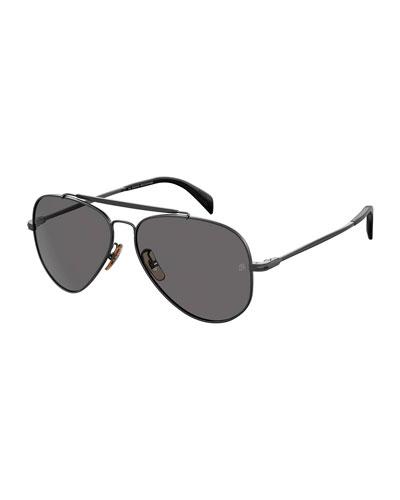 Men's Polarized Metal Aviator Brow-Bar Sunglasses