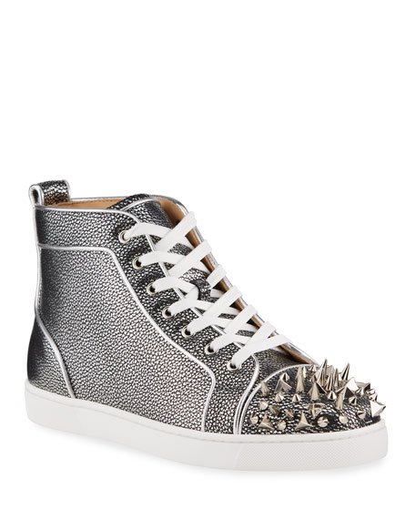 Christian Louboutin Men's Lou Pik Pik Orlato Metallic Grained Leather High-Top Sneakers