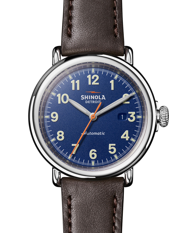 Unisex 45mm Runwell Automatic 3HD Leather Watch