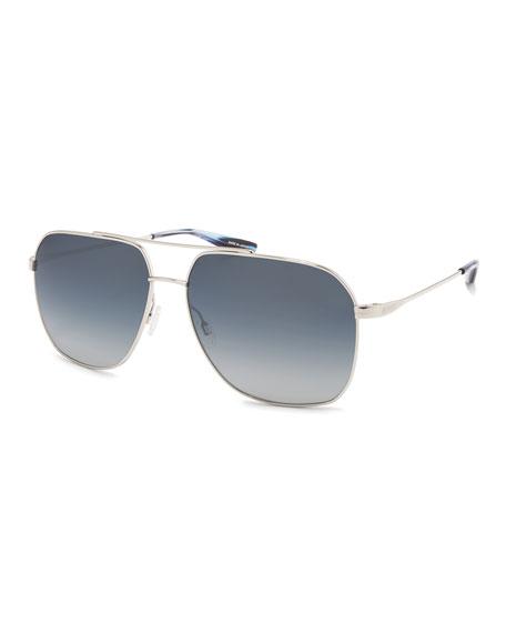 Barton Perreira Men's Aeronaut Titanium Gradient Aviator Sunglasses