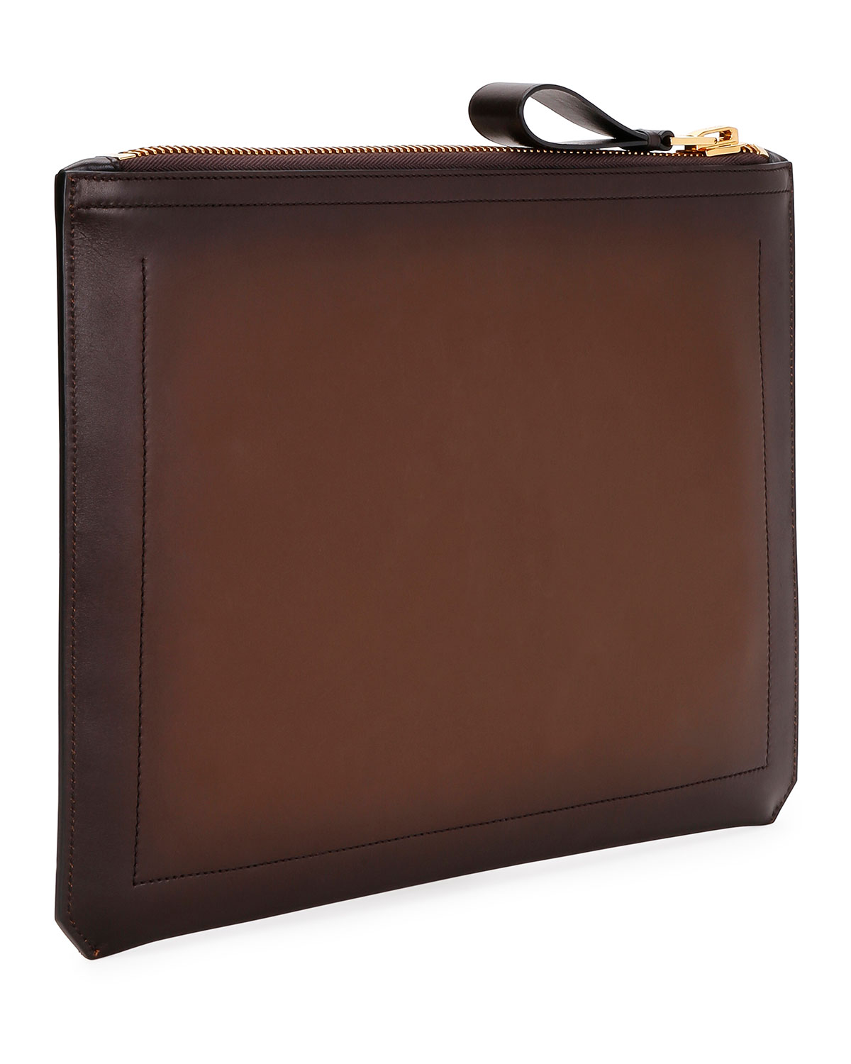 Tom Ford MEN'S ZIP-TOP LEATHER PORTFOLIO CASE