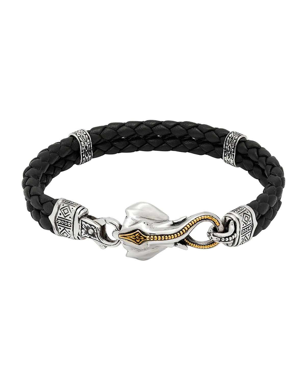 Men's Perseus Two-Row Leather Bracelet w/ Elephant Clasp