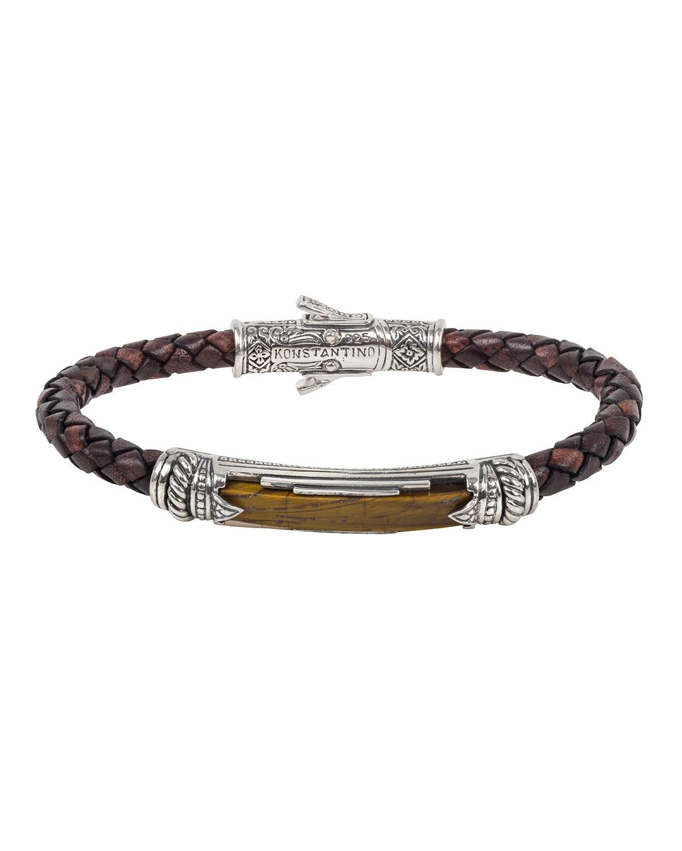 Men's Perseus Leather/Tiger's Eye Bracelet