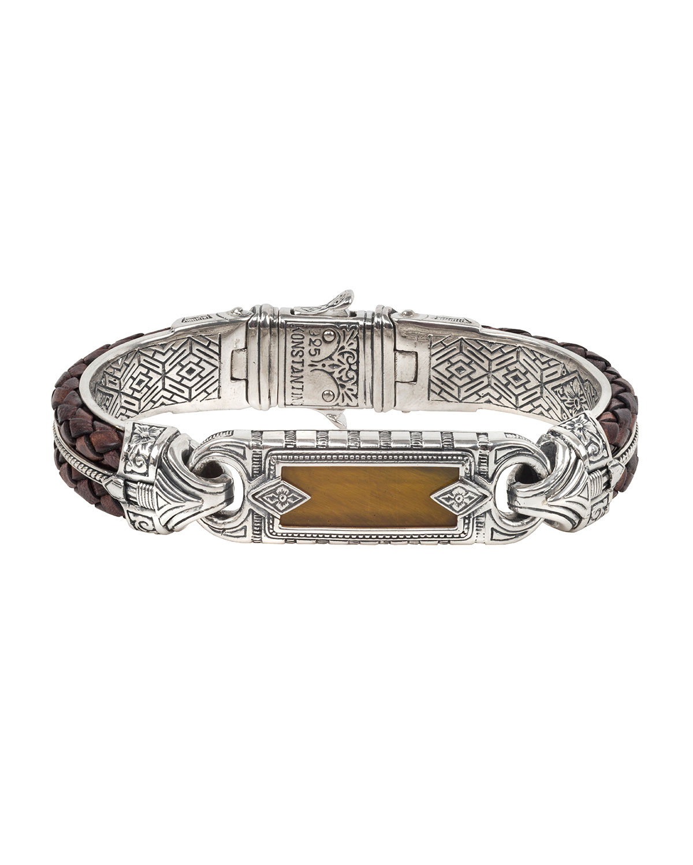 Men's Perseus Two-Row Leather/Tiger's Eye Bracelet