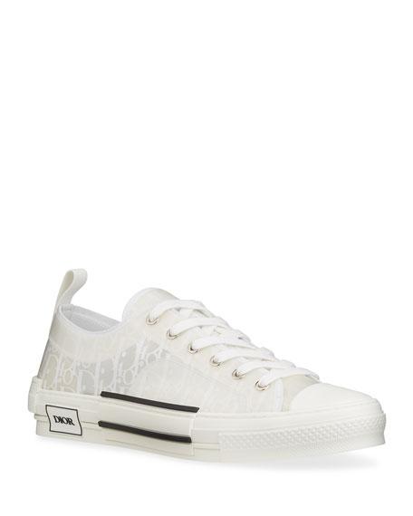 Dior Men's B23 Oblique Canvas & Calfskin Low-Top Sneakers
