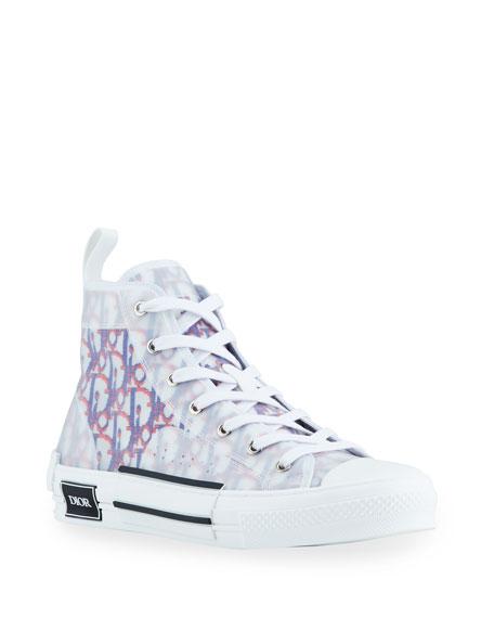 Dior Men's B23 Pixelated Oblique High-Top Sneakers