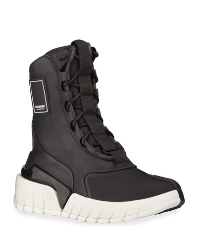 Men's B-Army Mix-Media High-Top Sneakers