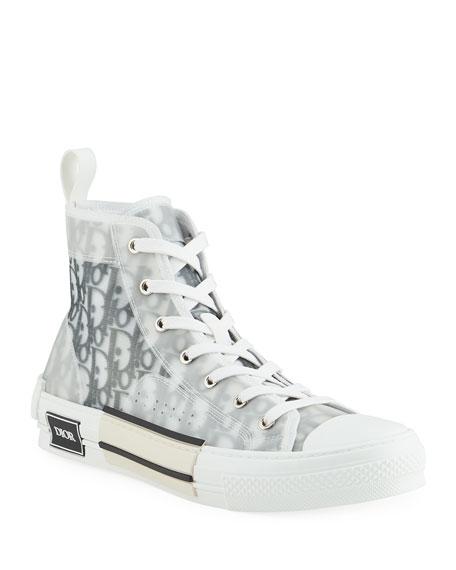 Dior Men's B23 Oblique Canvas High-Top Sneakers