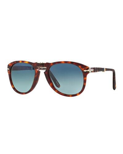 Men's Polarized Gradient Havana Aviator Sunglasses