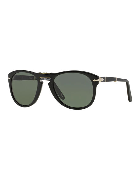 Persol Men's Polarized Solid Acetate Sunglasses